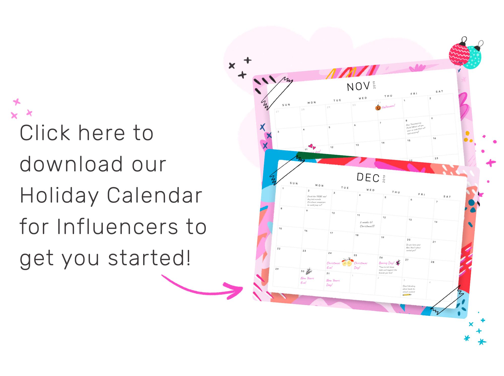 2019 Influencer Holiday Calendar