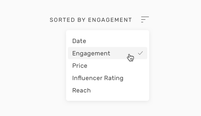 sort by engagement