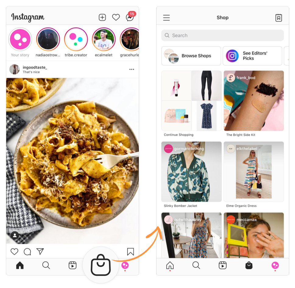 social commerce with instagram shopping tab