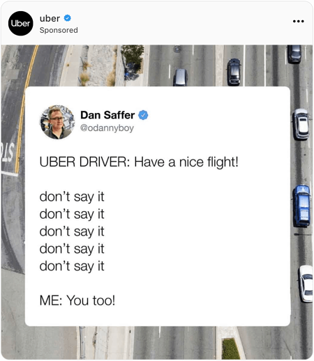 Drone image of highway with a screenshot of a tweet overlayed