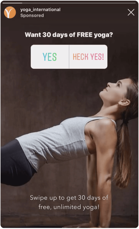 Instagram story screenshot with woman doing yoga and a poll sticker