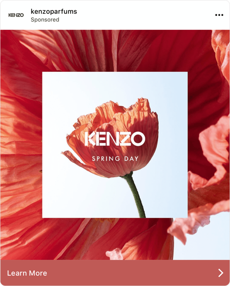 """Screenshot of Instagram ad with a red flower and the text """"Kenzo Spring Day"""""""