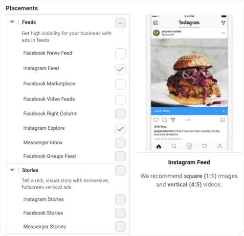 Screenshot of Facebook Ads Manager with options for Placements