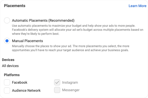Screenshot of Facebook Ads Manager showing options for Placements
