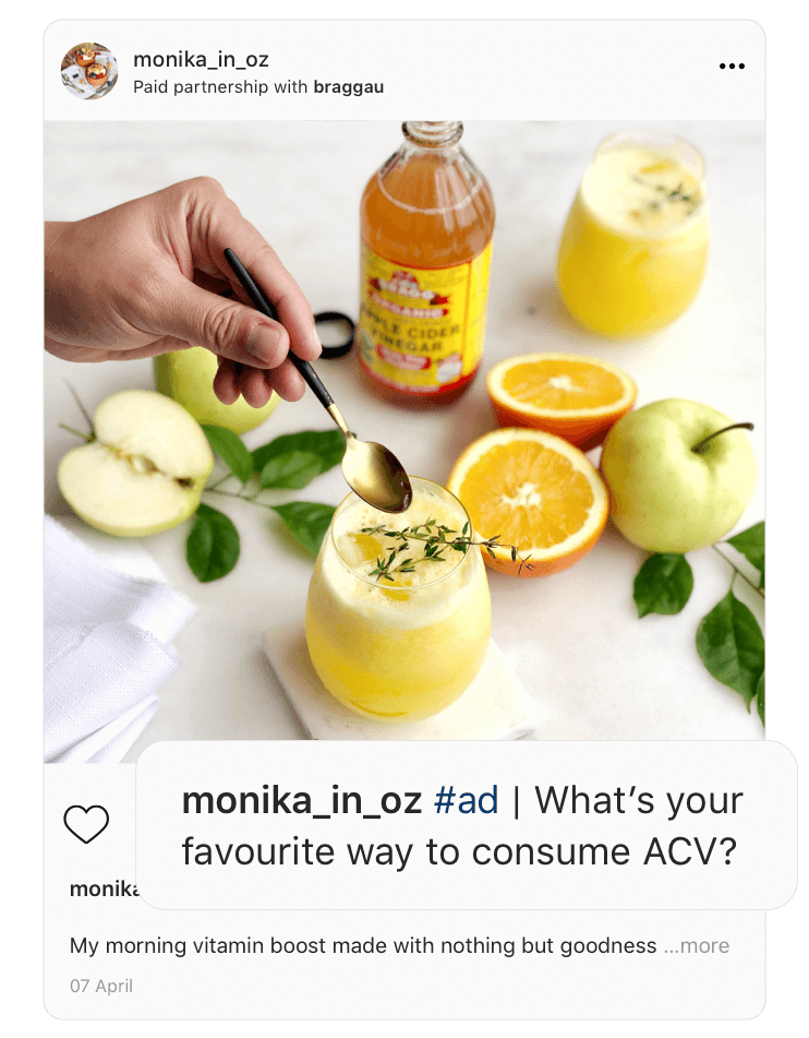 """Screenshot of an instagram post of a drink with enlarged caption """"What is your favourite way to consume ACV?"""""""