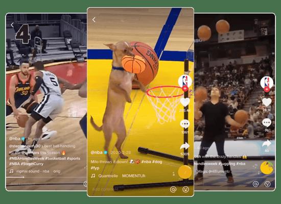 3 Screenshots of NBA's TikToks