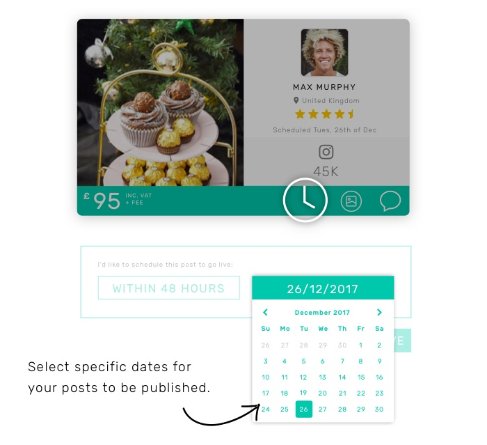 Select specific dates for your post to be published.