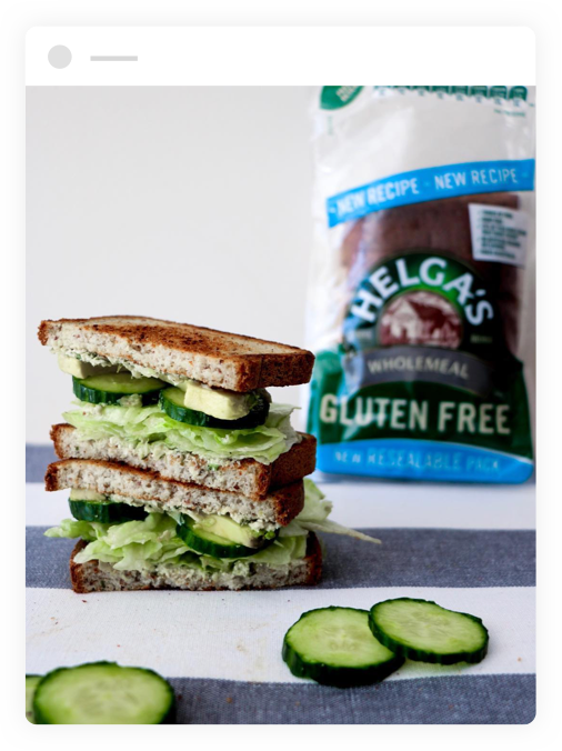 Green sandwich made with helga's bread