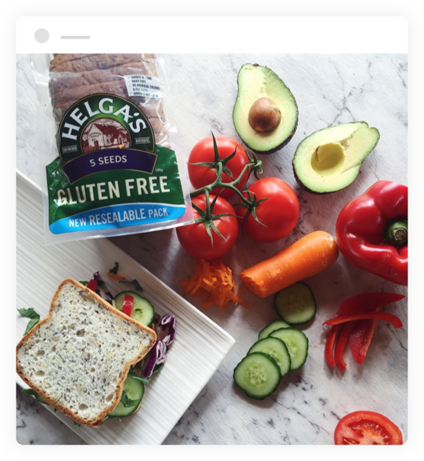 Sandwich made with Helga's Wholemeal Gluten Free Bread