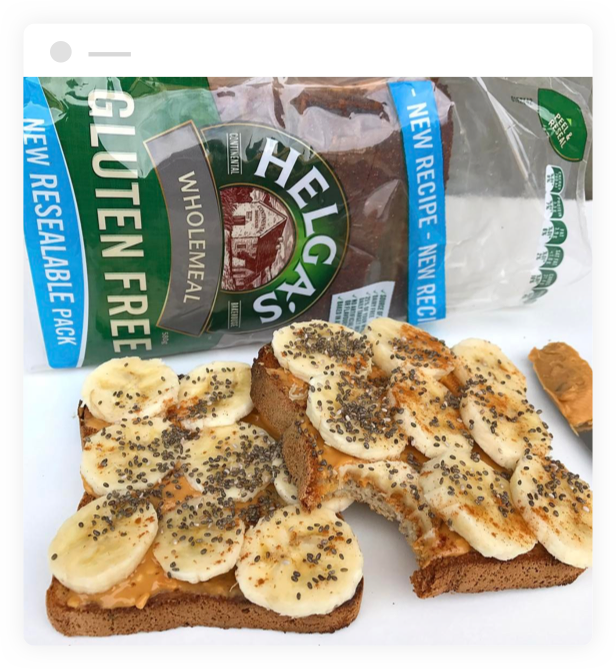 Banana Toast made with Helga's Wholemeal Gluten Free Bread