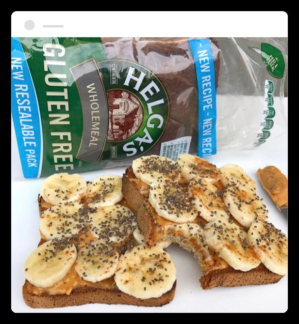 Banana Toast made with Helga's Wholemeal Gluten Free Bread