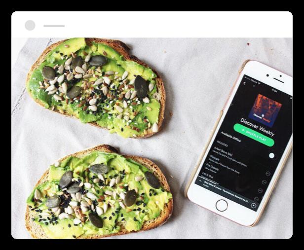spotify app next to avocado toasts