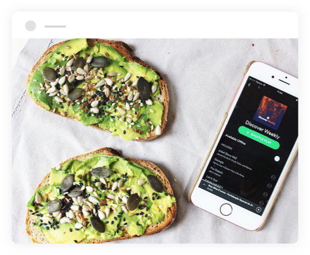 spotify app next to avocado toasts